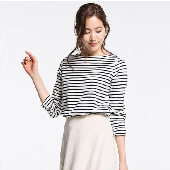 41e5ec236d Uniqlo Tops | Women Striped Boat Neck Longsleeve Tshirt | Poshmark